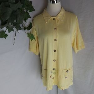 C.C Collection button front cotton linen shirt top